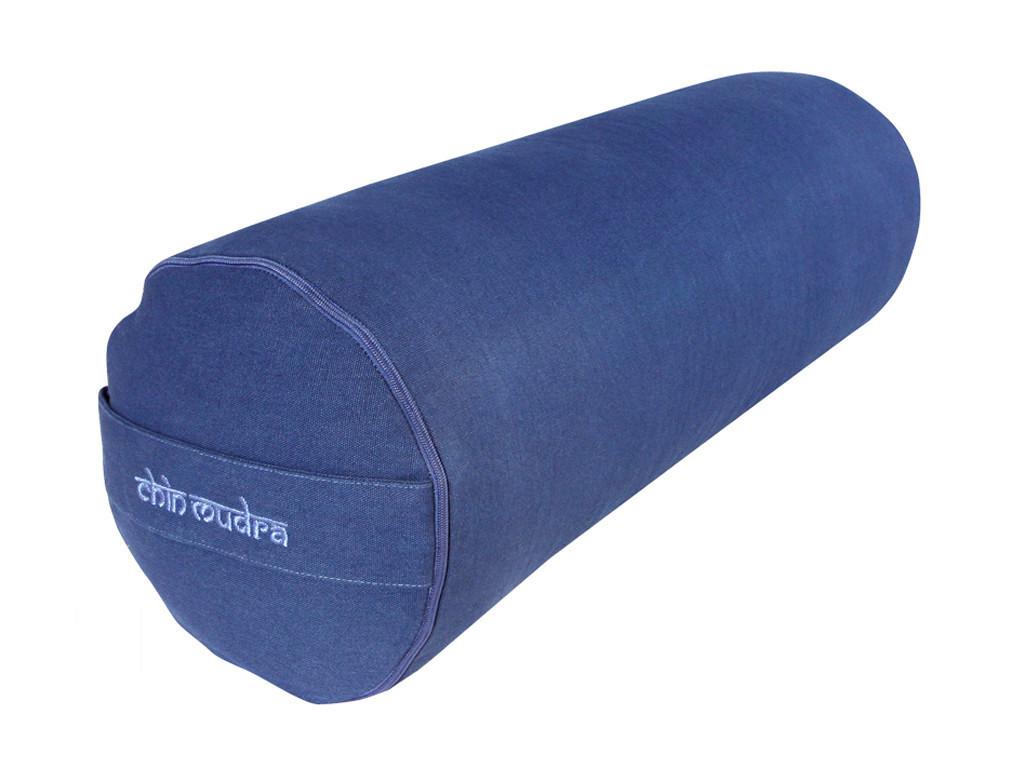Bolster de yoga 100 % coton Bio Epeautre 65 cm x 21 cm Bleu