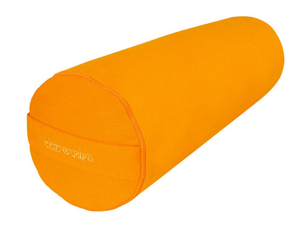 Bolster de yoga 100 % coton Bio Epeautre 65 cm x 21 cm Orange Safran