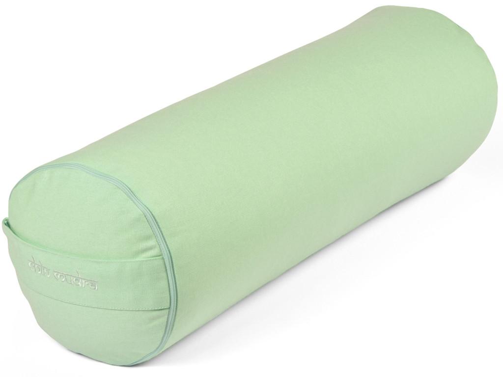 Bolster de yoga 100 % coton Bio Epeautre 65 cm x 21 cm Vert Pastel