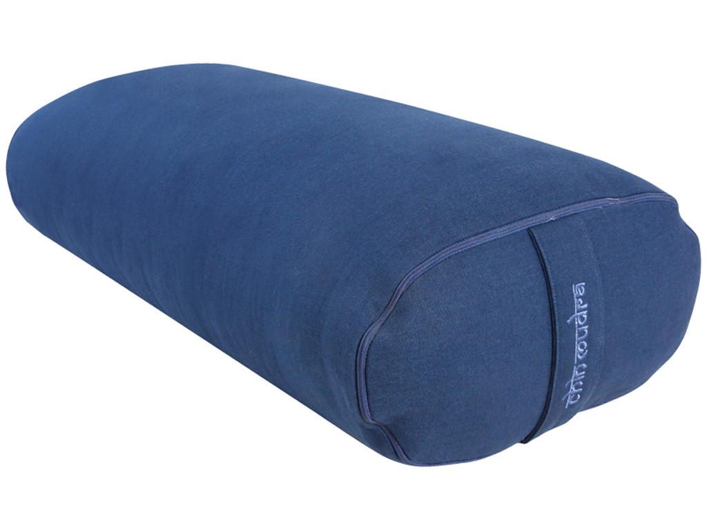 Bolster de yoga Ovale EPEAUTRE 100 % coton Bio 60 cm x15 cm x 30 cm Bleu