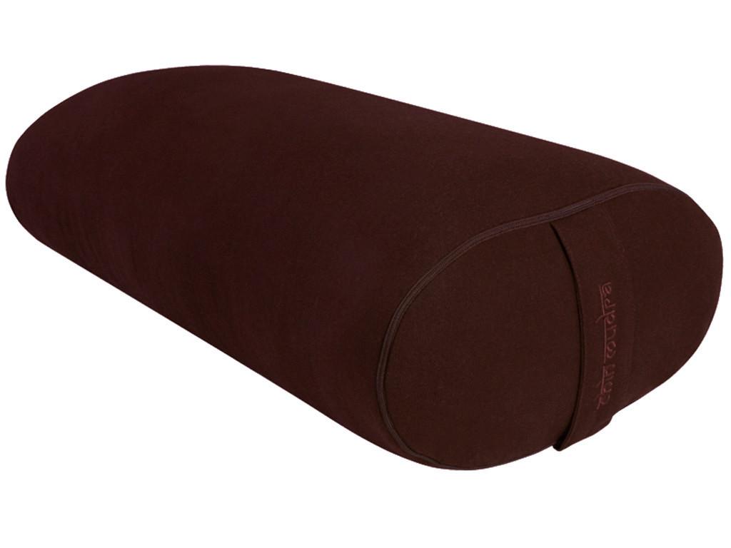 Bolster de yoga Ovale EPEAUTRE 100 % coton Bio 60 cm x15 cm x 30 cm Chocolat