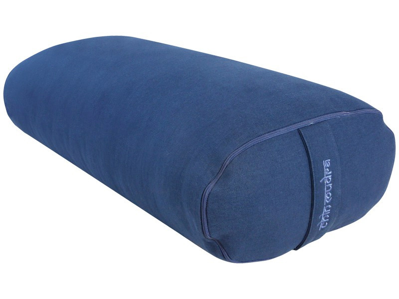 Bolster de yoga Ovale KAPOK 100 % coton Bio 60 cm x15 cm x 30 cm Bleu