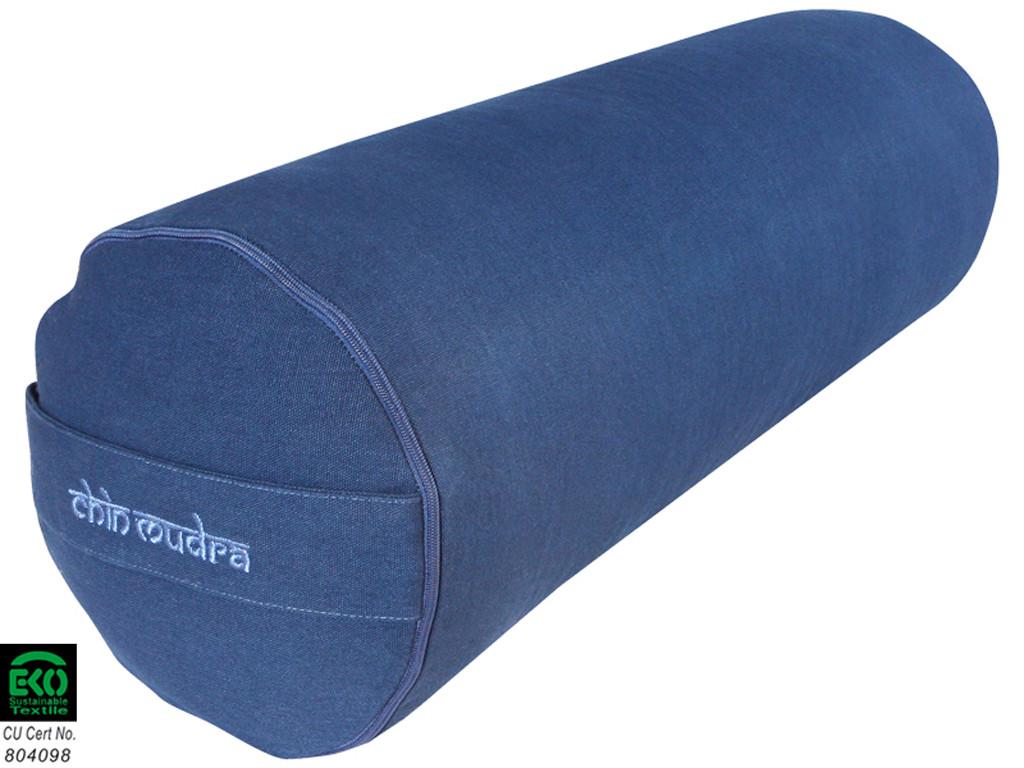 Bolster de yoga XL 100 % coton Bio 76 cm x 25 cm Blue