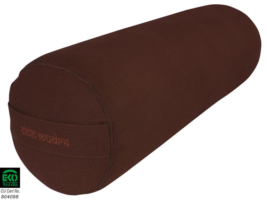 Bolster de yoga XL 100 % coton Bio 76 cm x 25 cm Chocolat