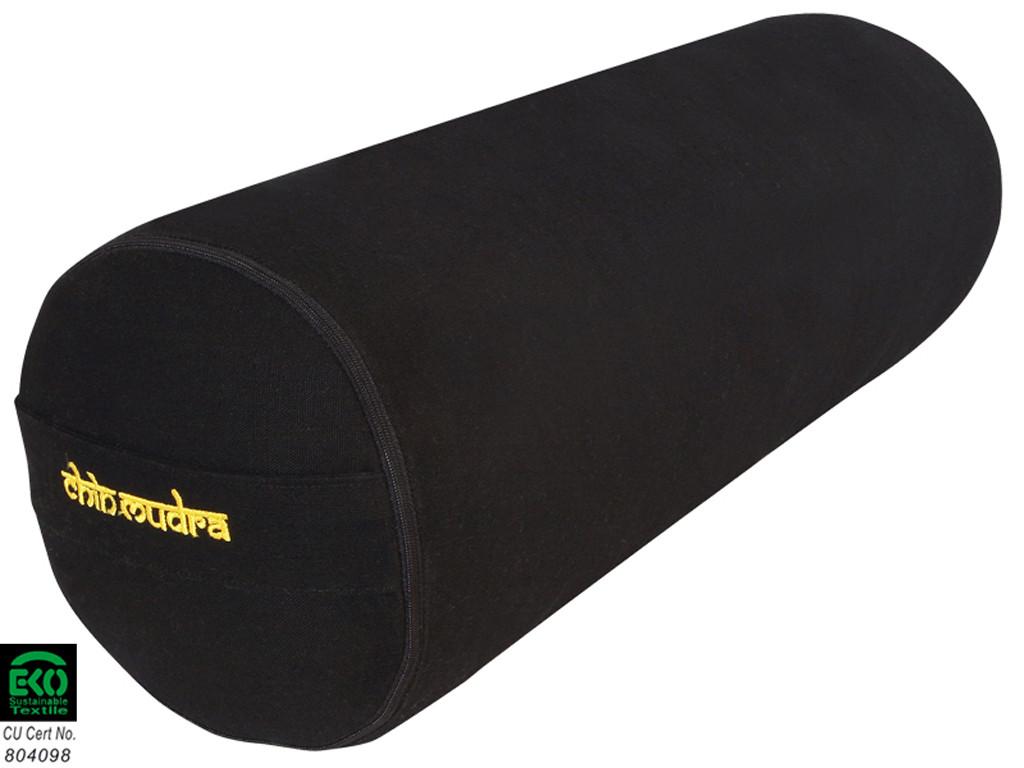 Bolster de yoga XL 100 % coton Bio 76 cm x 25 cm Noir