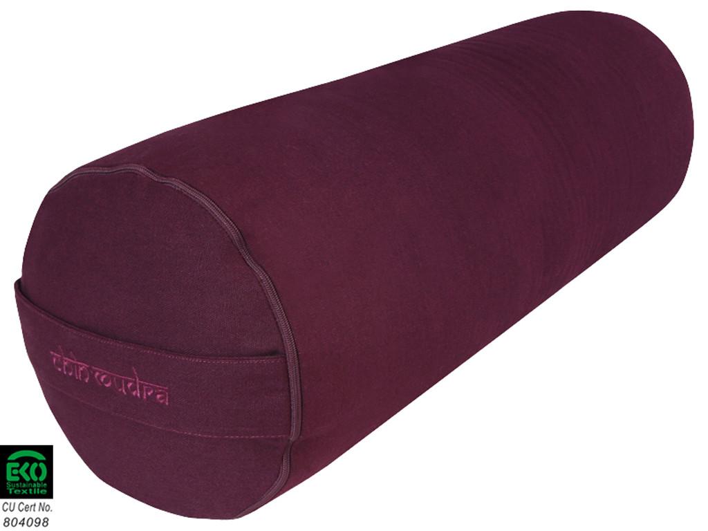 Bolster de yoga XL 100 % coton Bio 76 cm x 25 cm Prune