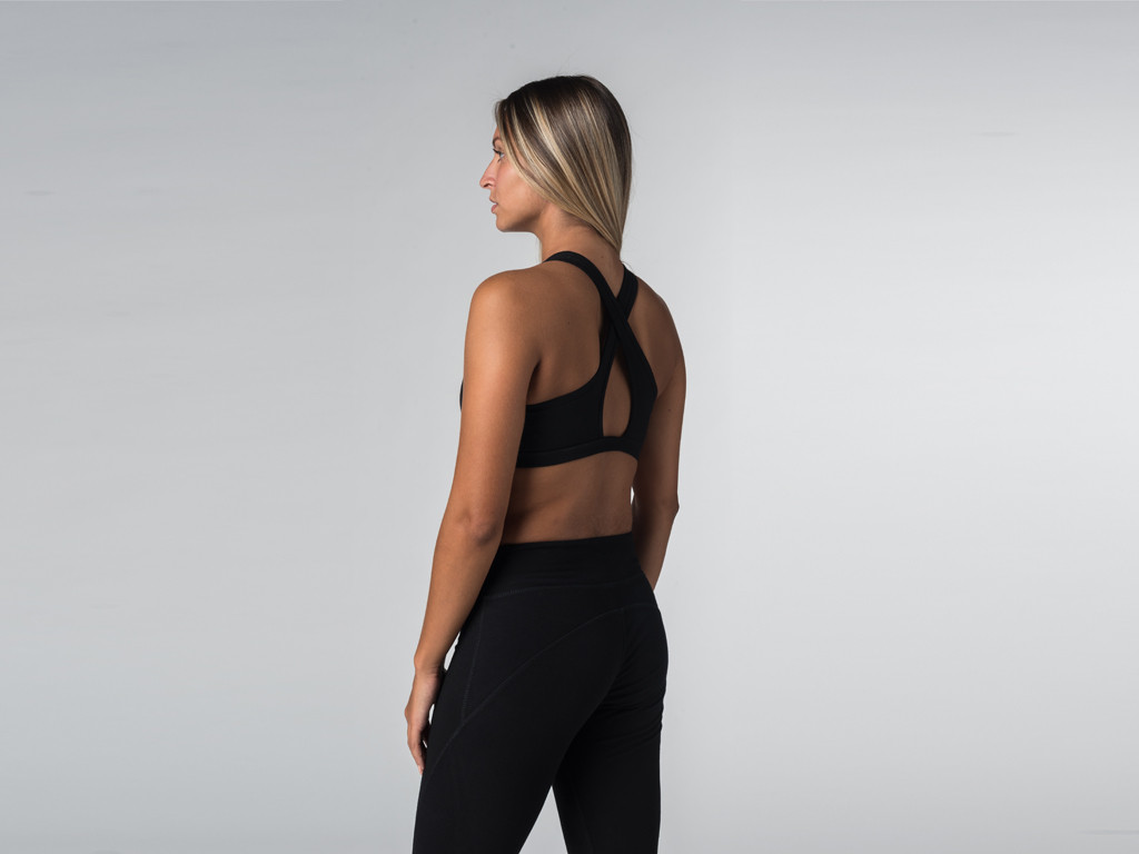 Brassière de Yoga studio - Coton Bio Noir