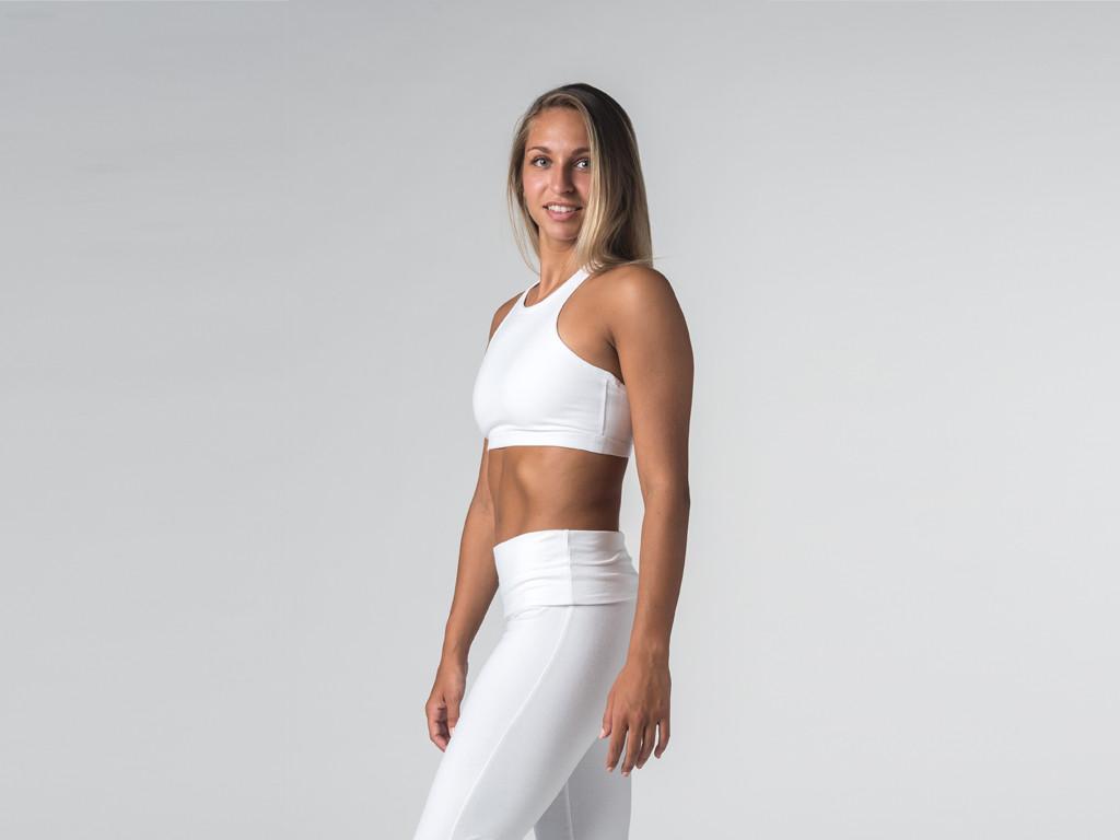 Brassière de Yoga studio - Coton Bio Blanc