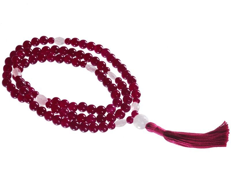 Mala 108 perles 8mm Jade Violet & Quartz Rose