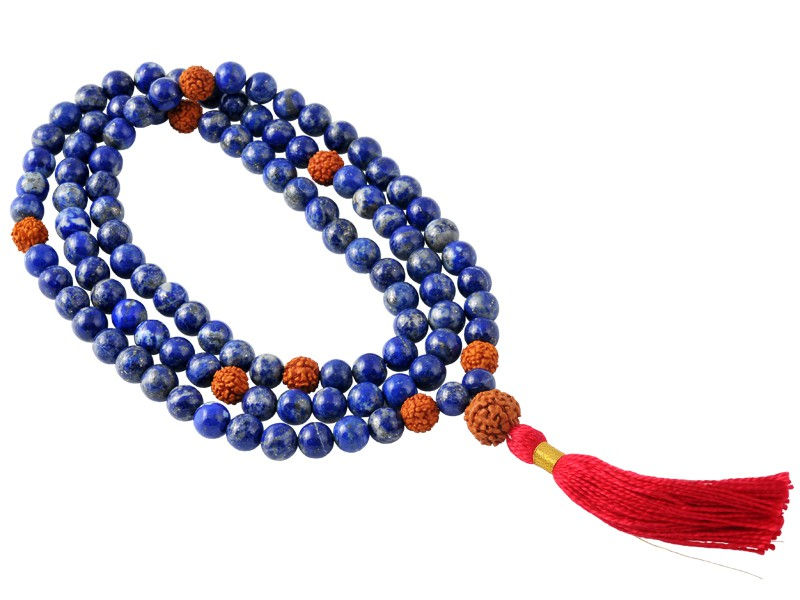Mala 108 perles 8mm Lapis Lazuli & Rudraksha