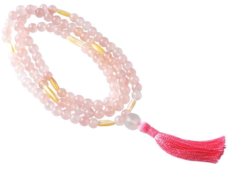 Mala 108 perles 8mm Quartz Rose & Nacre