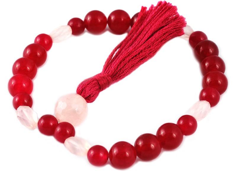 Mala 27 perles Jade Violet & Quartz Rose