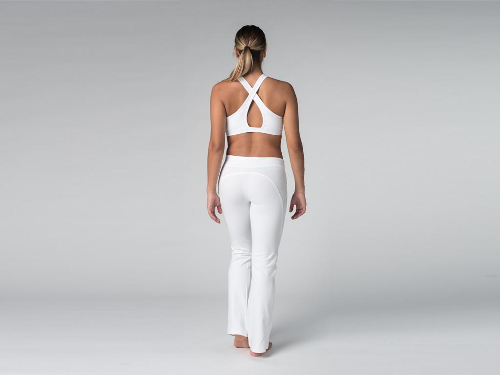Pantalon de yoga Chic - 95% coton Bio et 5% Lycra Blanc