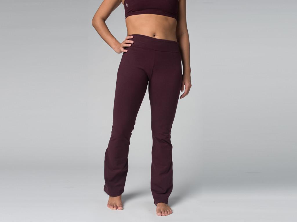 Pantalon de yoga Chic - 95% coton Bio et 5% Lycra Prune