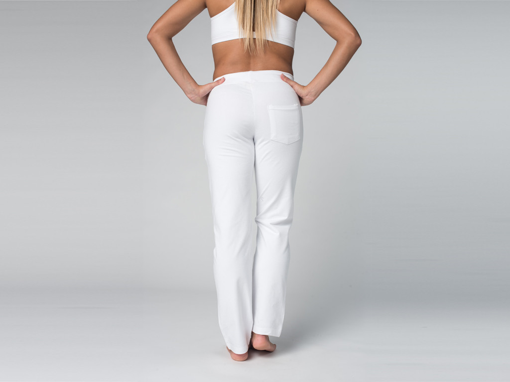 Pantalon de yoga Confort Femme - Coton Bio Blanc