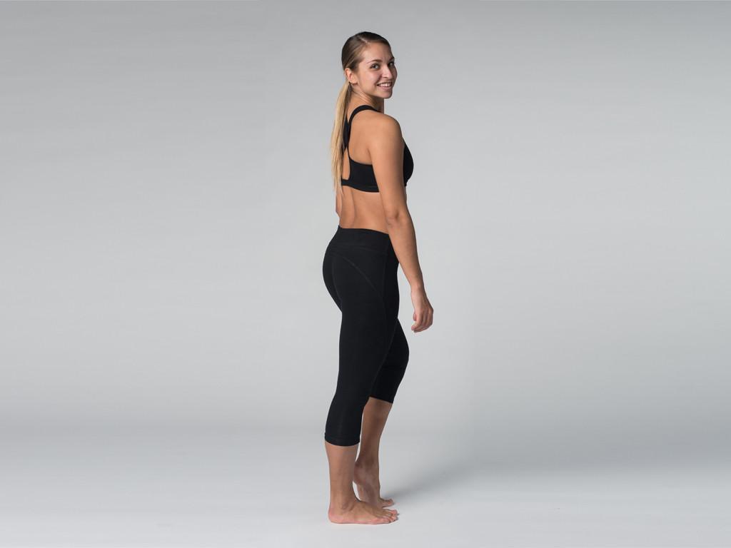 Pantalon de yoga Corsaire 95% coton Bio et 5% Lycra Noir