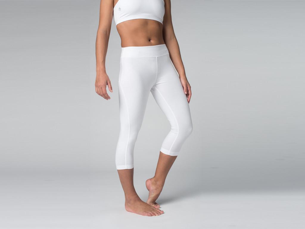 Pantalon de yoga Corsaire 95% coton Bio et 5% Lycra Blanc