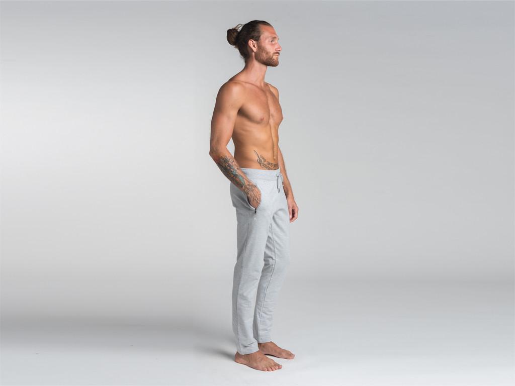 Pantalon de yoga Slim homme - Coton Bio Gris
