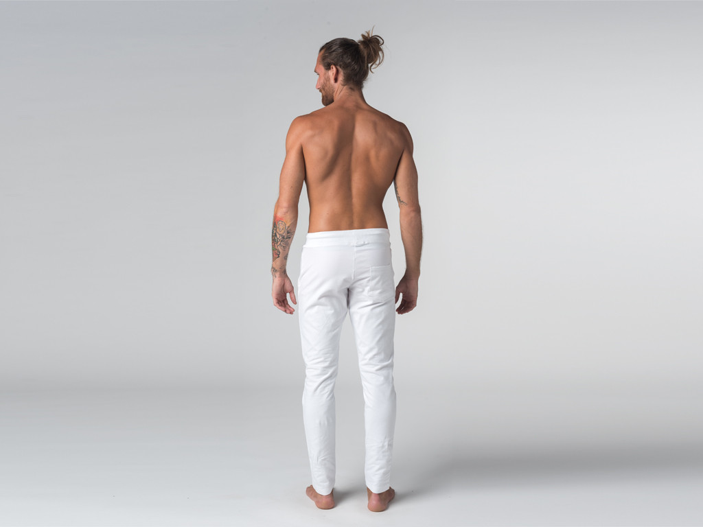 Pantalon de yoga Slim homme - Coton Bio Blanc