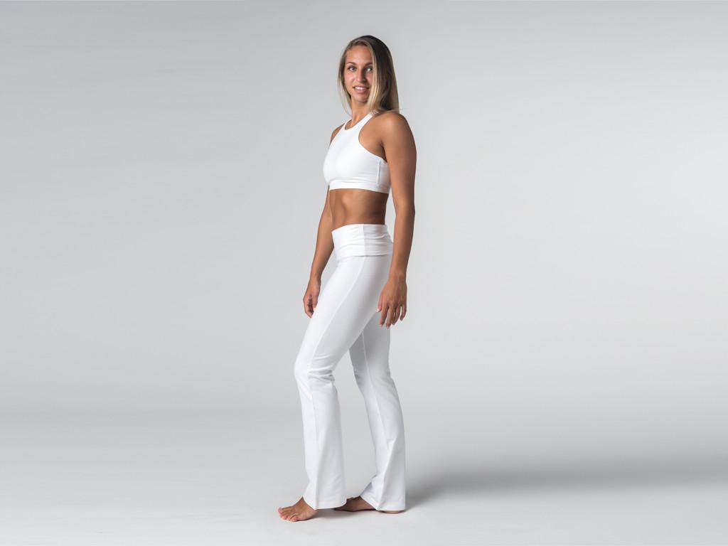 Pantalon de yoga Jazz  - 95% coton Bio et 5% Lycra Blanc