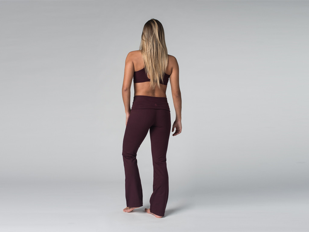 Pantalon de yoga Jazz - 95% coton Bio et 5% Lycra Prune