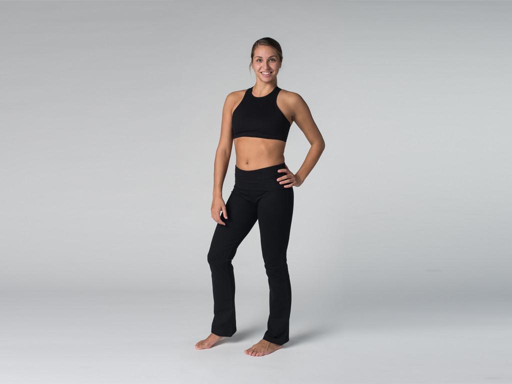 Pantalon de yoga Jazz - 95% coton Bio et 5% Lycra Noir