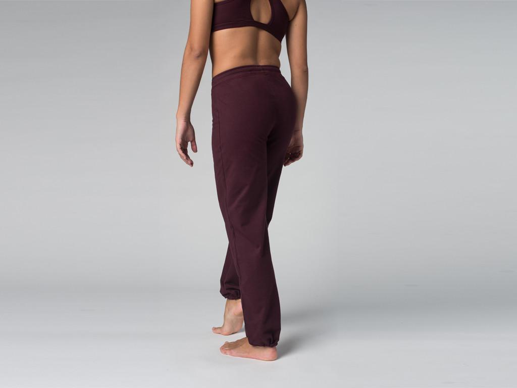 Pantalon de yoga Param - 95% coton Bio et 5% Lycra Prune