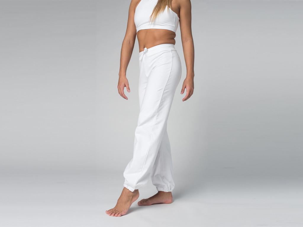 Pantalon de yoga Param - 95% coton Bio et 5% Lycra Blanc