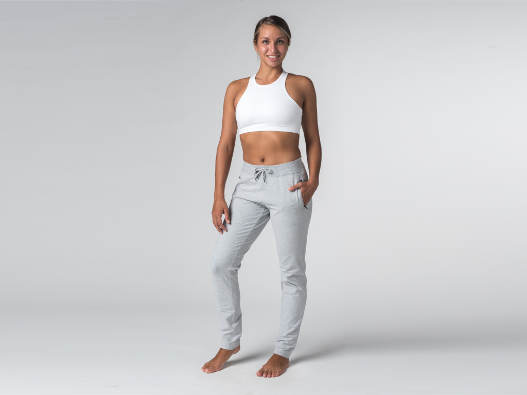 Pantalon de yoga Slim Femme - Coton Bio Gris