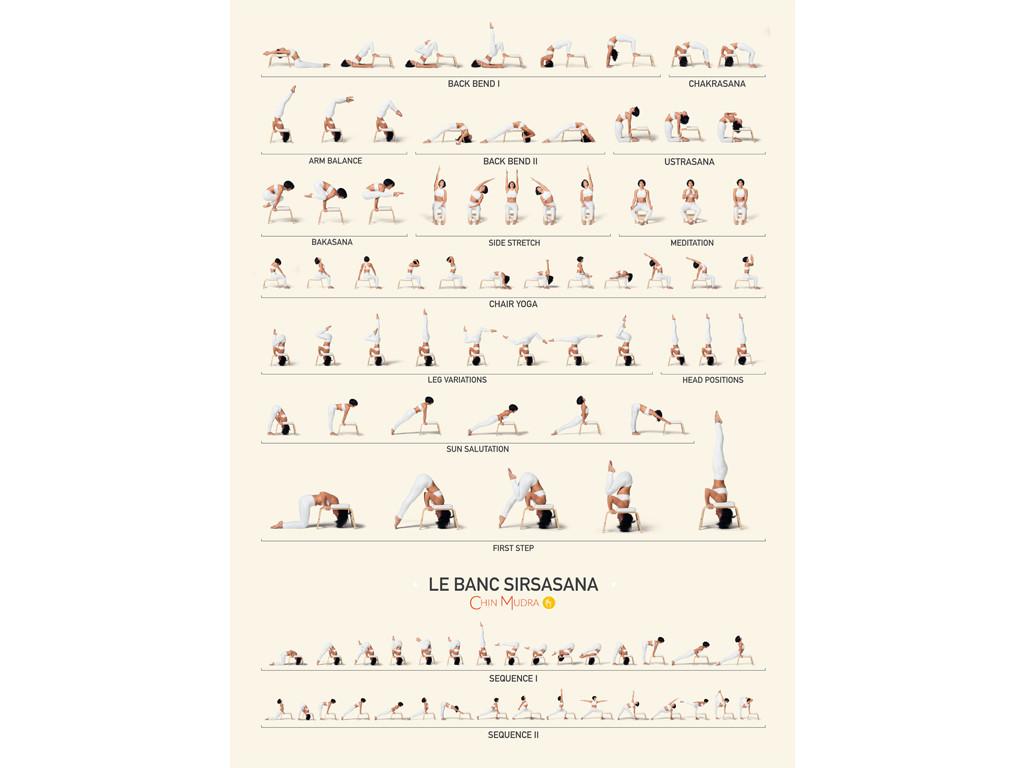 Poster de Sirsasana variations 41 cm x 57 cm - Blanc