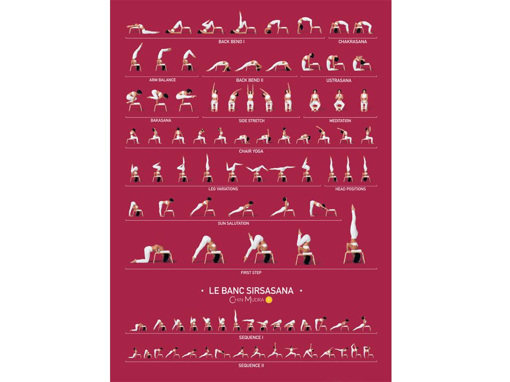 Poster de Sirsasana variations 41 cm x 57 cm - Bordeaux