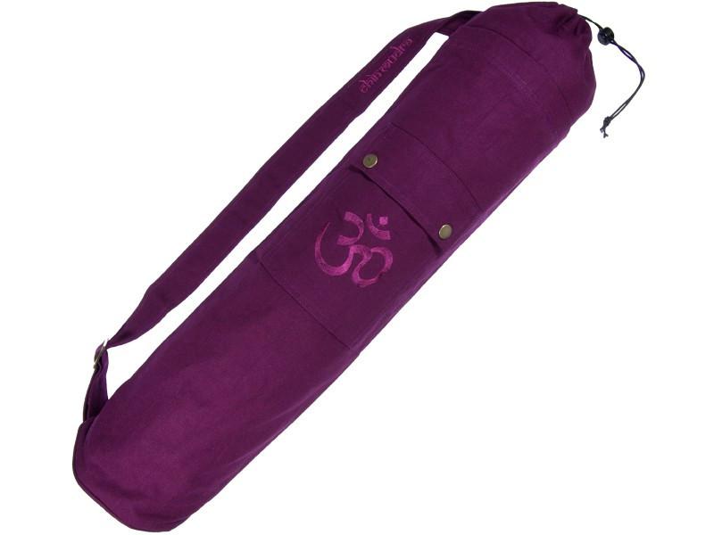 Sac à tapis de yoga 100% Coton Bio 71cm x 15cm Prune