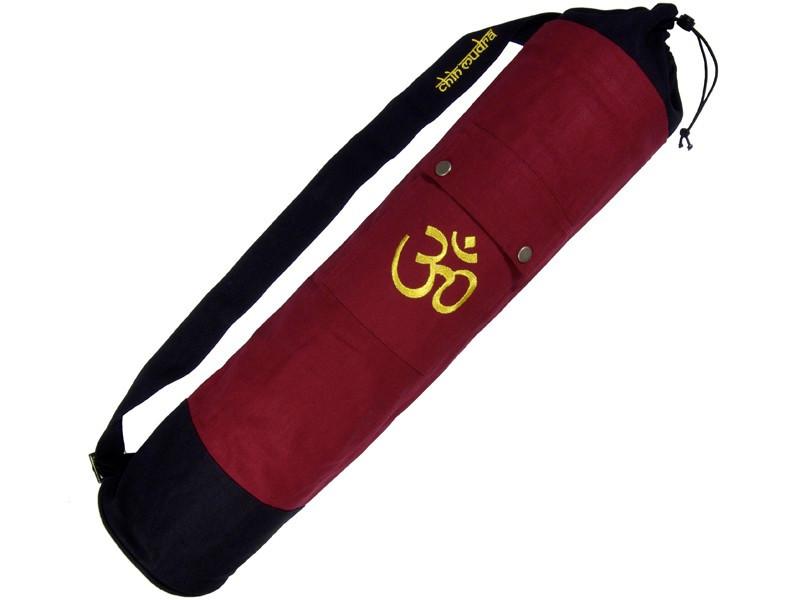 Sac à tapis de yoga 100% Coton Bio 71cm x 15cm Bordeaux/noir