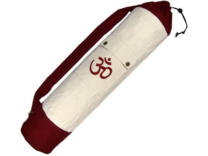 Sac à tapis de yoga 100% Coton Bio 71cm x 15cm Ecru/Bordeaux