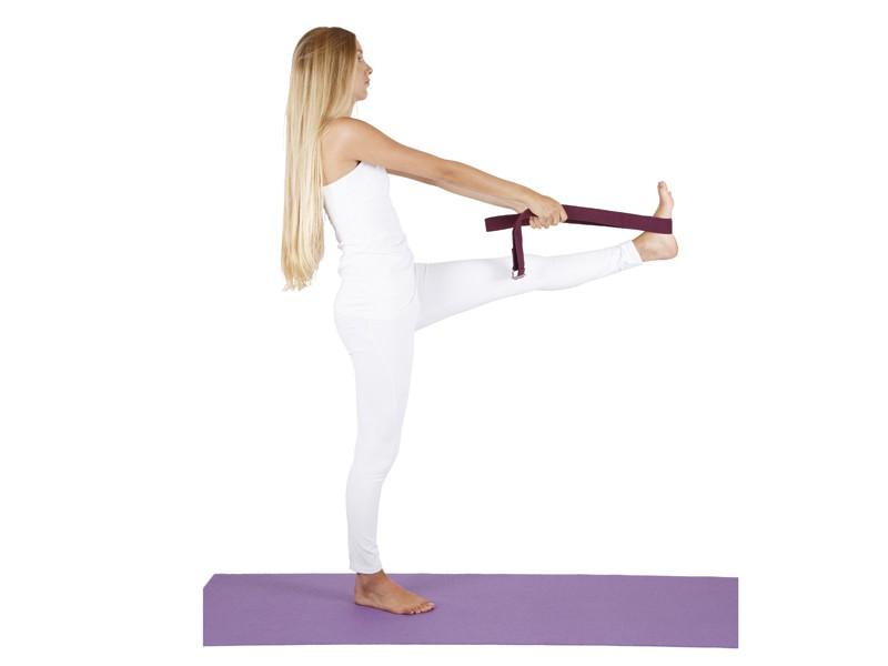 Sangle de yoga 100% coton Bio boucle 1/2 lune Bordeaux