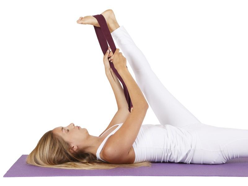 Sangle de yoga 100% coton Bio boucle 1/2 lune Prune