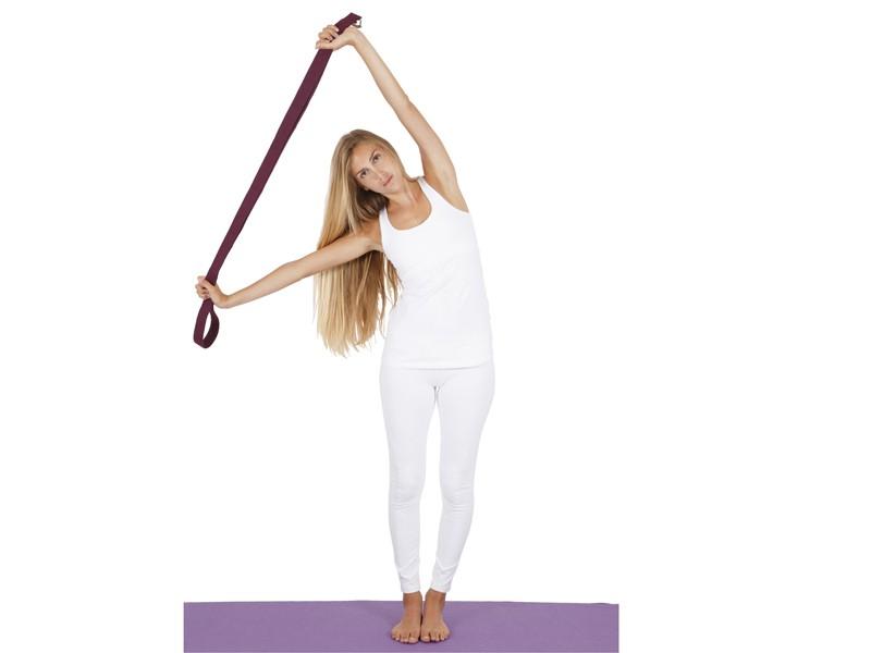 Sangle de yoga coton Bio boucle rectangulaire Prune