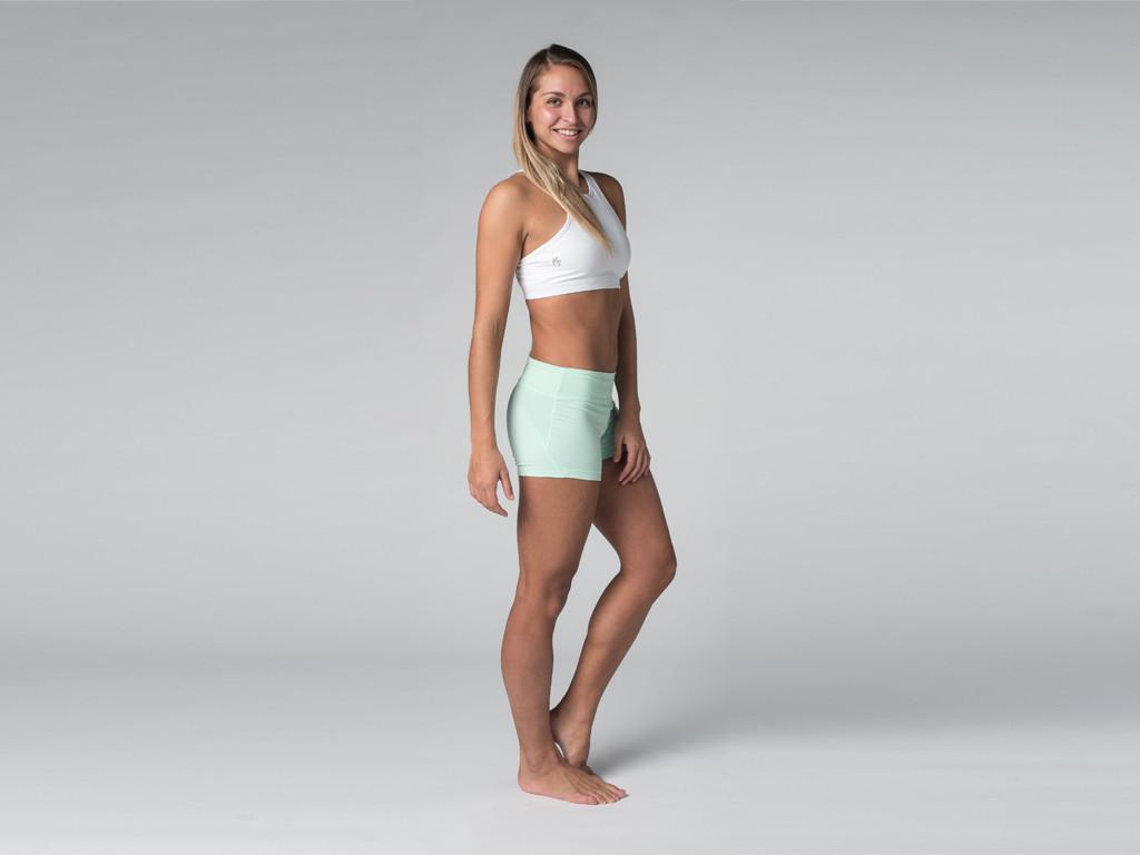 Short de yoga 95% coton Bio et 5% Lycra Vert Lagon