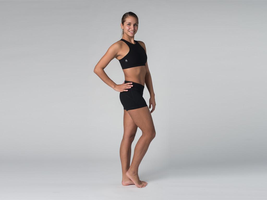 Short de yoga 95% coton Bio et 5% Lycra Noir