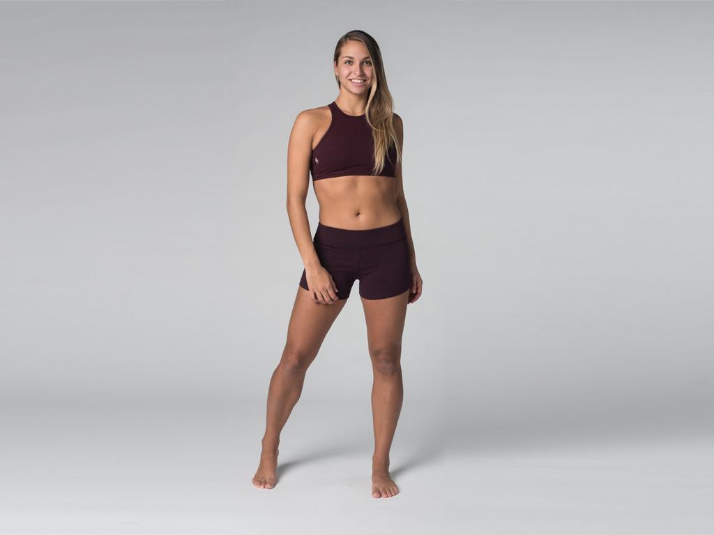 Short de yoga 95% coton Bio et 5% Lycra Prune