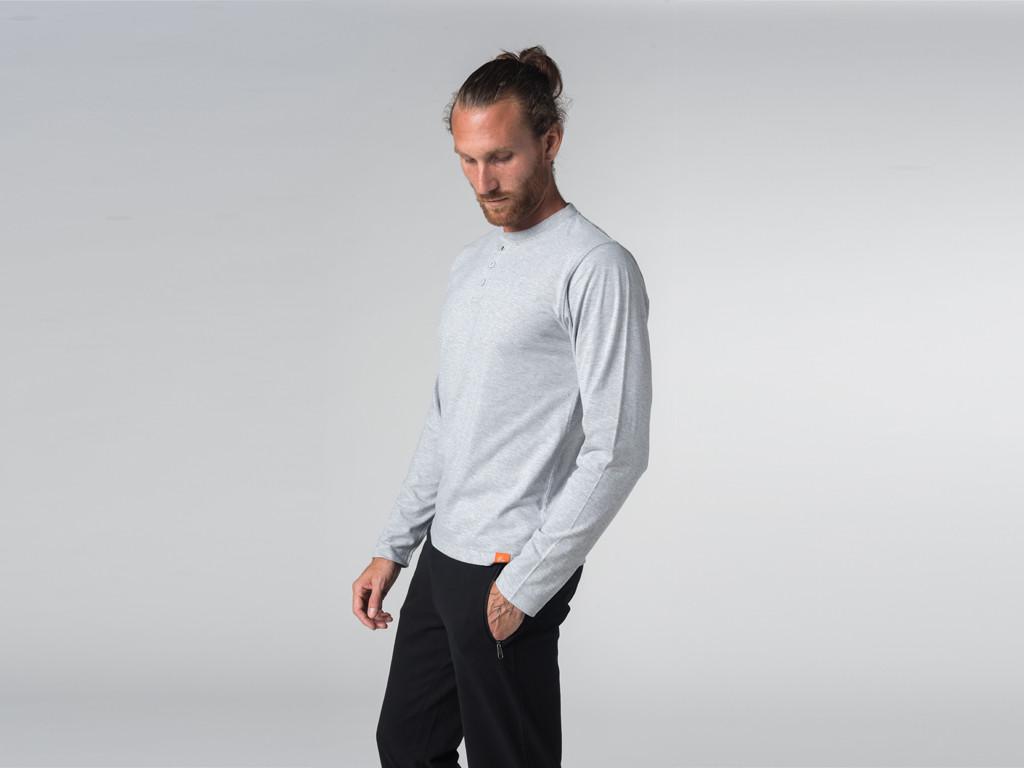 T-shirt Boutons Manches longues - Coton Bio Gris