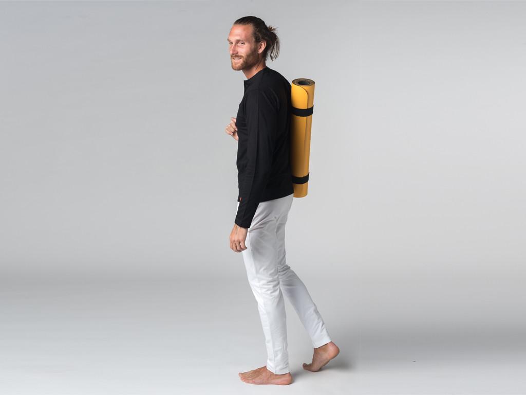 T-shirt manches longues 100% coton Bio Col 3 Boutons - Noir