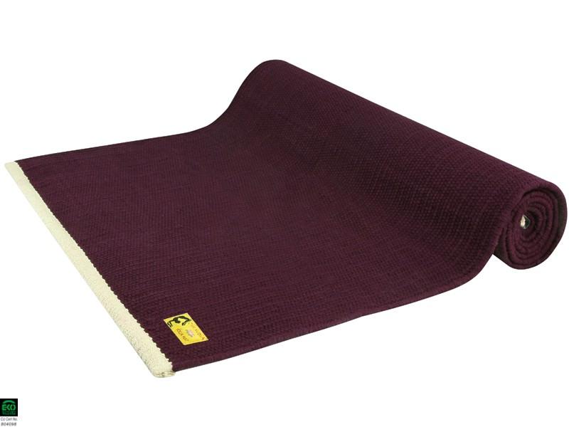 Tapis de yoga Taj 100% coton Bio - Prune 2 m x 66 cm x 5mm