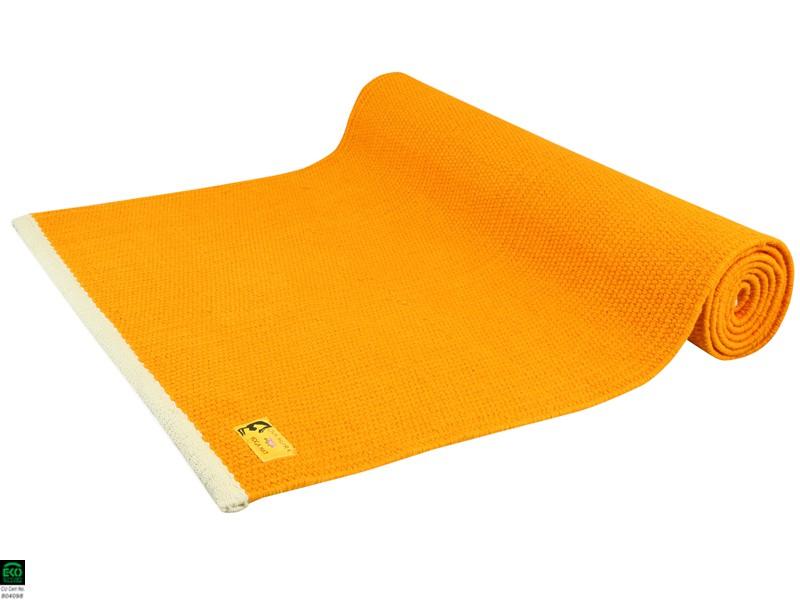 Tapis de yoga Taj 100% coton Bio - 2 m x 66 cm x 5mm Orange Safran