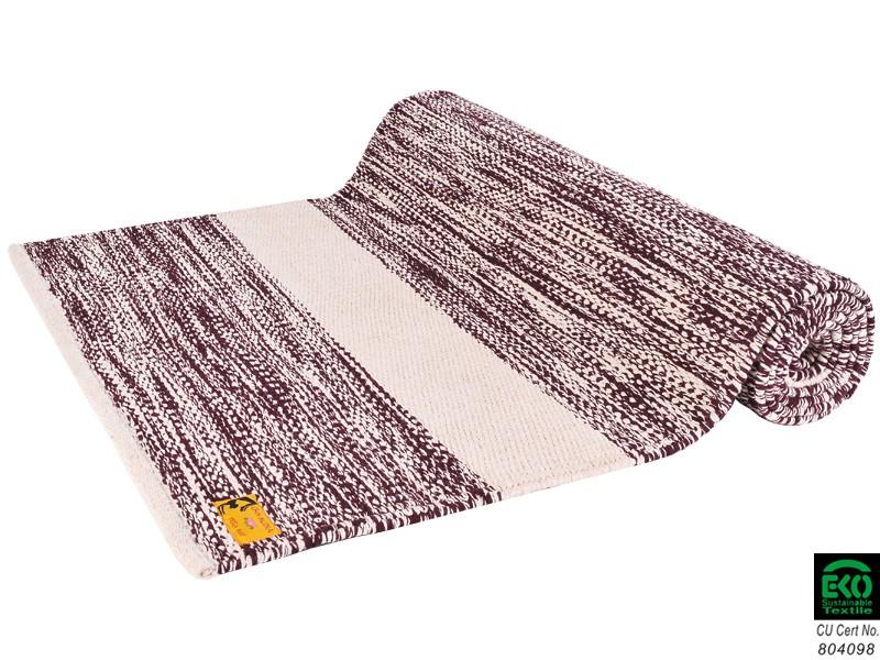 Tapis de yoga Taj 100% coton Bio - 2 m x 66 cm x 5mm Prune/Écru