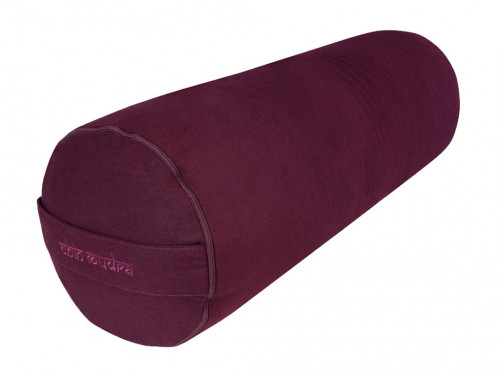Bolster de yoga 100 % coton Bio Epeautre 65 cm x 21 cm Prune