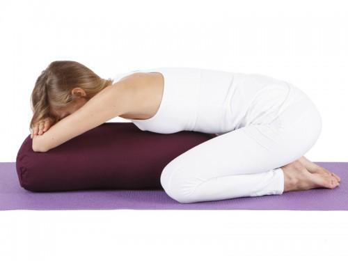 Article de Yoga Bolster de yoga Ovale KAPOK 100 % Coton Bio 60 cm x 15 cm x 30 cm Bordeaux