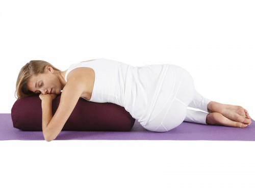Article de Yoga Bolster de yoga Ovale KAPOK 100 % coton Bio 60cm x 15cm x 30cm Prune