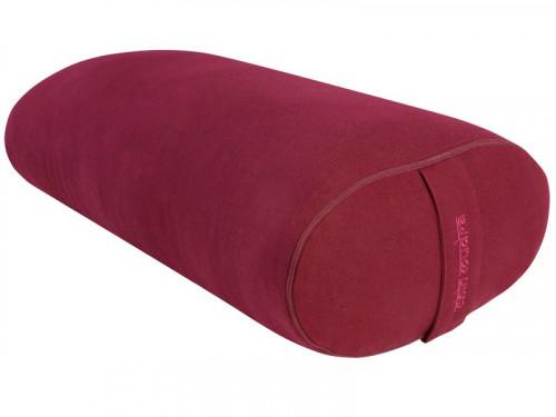 Bolster de yoga Ovale KAPOK 100 % Coton Bio 60 cm x 15 cm x 30 cm Bordeaux