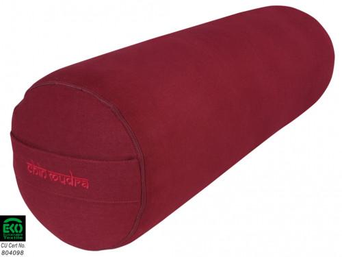 Bolster de yoga XL 100 % coton Bio 76 cm x 25 cm Bordeaux